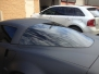 Corvette 1 piece rear window tint with vinyl over dot matrix