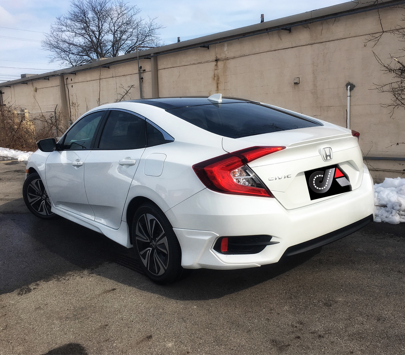 2016 Civic Tint Gloss Black Vinyl Roof Columbus Car Audio